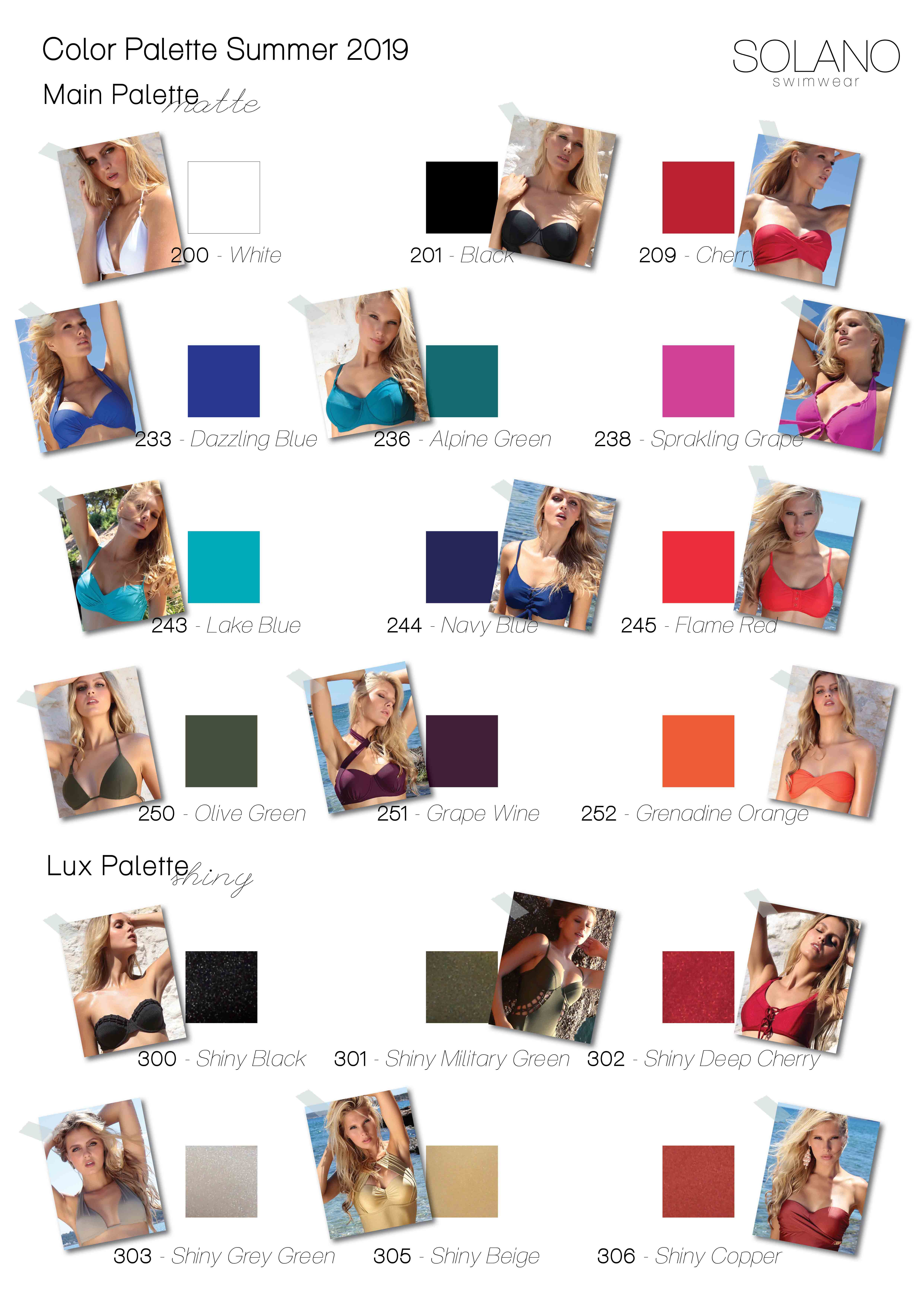 Color Palette SOLANO Swimwear 2019